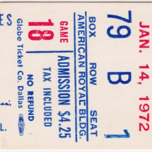 1972 CHL Kansas City Blues ticket stub for sale
