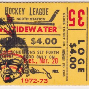 1973 AHL Boston Braves ticket stub vs Virginia Red Wings for sale