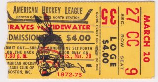 1973 AHL Boston Braves ticket stub vs Virginia Red Wings
