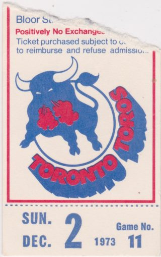 1973 WHA Toronto Toros ticket stub vs Houston Aeros