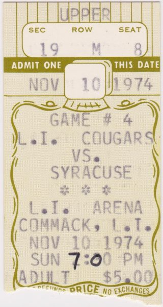 1974 NAHL Long Island Cougars ticket stub vs Syracuse Blazers for sale