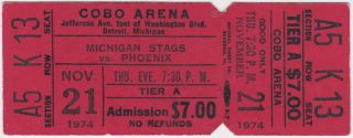 1974 WHA Michigan Stags full ticket stub vs Phoenix Roadrunners for sale