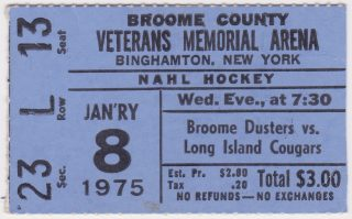 1975 EHL Broome Dusters ticket stub vs Long Island Cougars