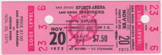 1975 WHA San Diego Mariners ticket stub Denver Spurs for sale