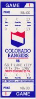 1987 IHL Colorado Rangers ticket stub vs Golden Eagles