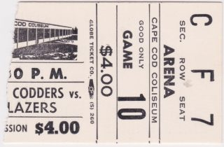 1970s Cape Codders ticket stub vs Syracuse Blazers for sale