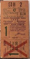 1920 World Series Game 4 ticket stub Indians vs Robins