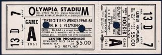 1961 NHL Playoffs Detroit full ticket vs Toronto