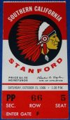 1966 NCAAF Stanford ticket stub vs USC