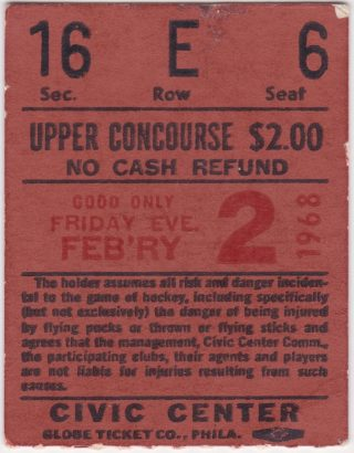 1968 Baltimore Clippers ticket stub