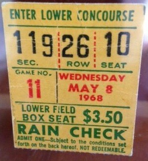 1968 Catfish Hunter A's Perfect Game Ticket Stub