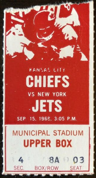 1968 Kansas City Chiefs ticket stub vs Jets
