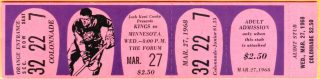 1968 Los Angeles Kings full ticket vs North Stars