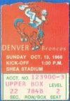 1968 New York Jets ticket stub vs Broncos