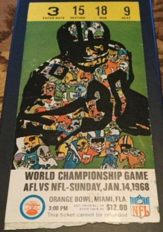 1968 Super Bowl II Ticket Stub Packers vs Raiders
