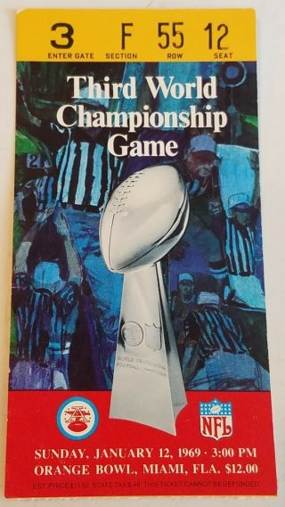 1969 Super Bowl ticket stub Colts vs Jets