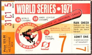 1971 World Series Game 7 Ticket Stub Clemente HR