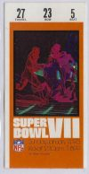 1973 Super Bowl VII ticket stub Dolphins vs Redskins