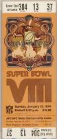 1974 Super Bowl VIII ticket stub Dolphins vs Vikings