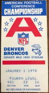 1977 AFC Championship Ticket Stub Raiders vs Broncos