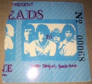 1978 Talking Heads ticket stub Santa Cruz