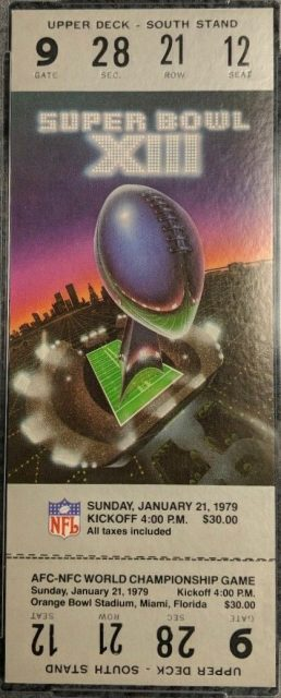 1979 Super Bowl XIII Ticket Stub Cowboys vs Steelers