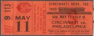 1980 Reds Ticket Stub Pete Rose Steals 3 bases in 1 inning
