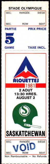1981 CFL Montreal Alouettes ticket stub vs Saskatchewan Roughriders
