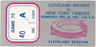 1982 Cleveland Indians ticket stub vs Yankees