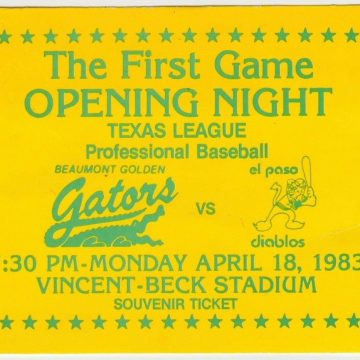 1983 Beaumont Golden Gators ticket stub vs El Paso