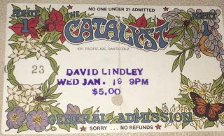 1983 David Lindley ticket stub Santa Cruz