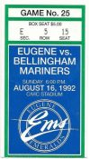 1992 Eugene Emeralds ticket stub vs Bellingham