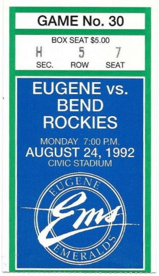 1992 Eugene Emeralds ticket stub vs Bend