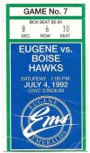 1992 Eugene Emeralds ticket stub vs Boise