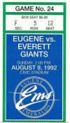 1992 Eugene Emeralds ticket stub vs Everett