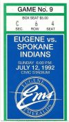1992 Eugene Emeralds ticket stub vs Spokane