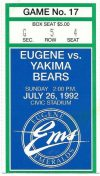 1992 Eugene Emeralds ticket stub vs Yakima