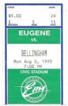1993 Eugene Emeralds ticket stub vs Bellingham
