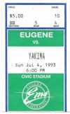 1993 Eugene Emeralds ticket stub vs Yakima