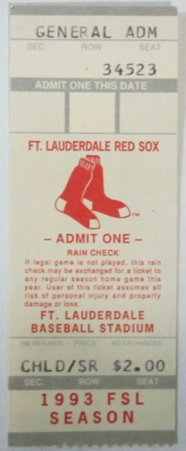 1993 Fort Lauderdale Red Sox ticket stub
