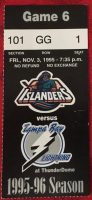 1995 NHL Tampa Bay Lightning ticket stub vs New York Islanders