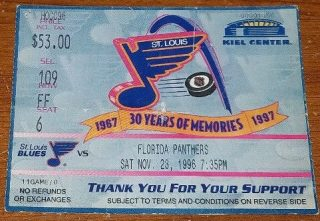 1996 NHL St. Louis Blues ticket stub vs Florida Panthers