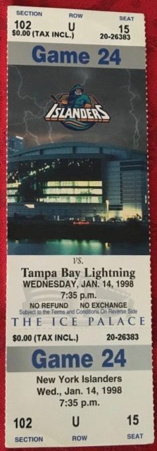 1998 NHL Tampa Bay Lightning ticket stub vs New York Islanders