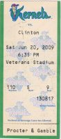 2009 Cedar Rapids Kernels ticket stub vs Clinton