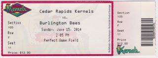 2014 Cedar Rapids Kernels ticket stub vs Burlington