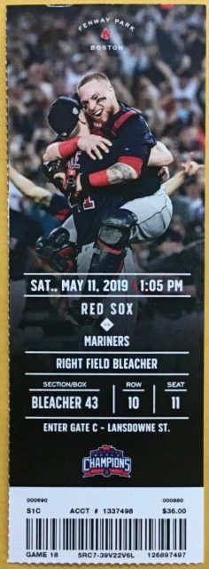 2019 Boston Red Sox ticket stub vs Mariners Shed Long Debut 13.25