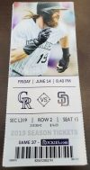 2019 Colorado Rockies ticket stub vs Padres