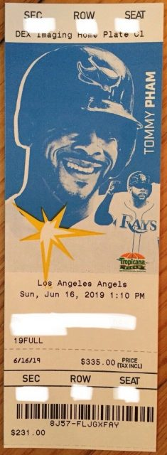 2019 Mike Trout Career Home Run 258 ticket stub