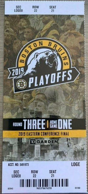 2019 NHL Playoffs Boston Bruins ticket stub vs Carolina