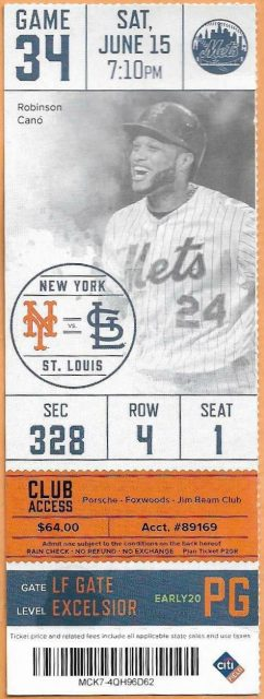 2019 New York Mets ticket stub vs Cardinals